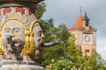 Fountain in the historic center of Rothenburg ob der Tauber, Ger