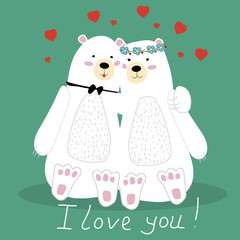 Valentine's day. Two lovely huggy bear. Postcard in vintage style. Vector illustration