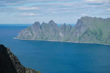 Panoramic View from Husfjellet Mountain to Devils Teeth