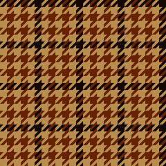 Houndstooth geometric plaid seamless pattern in brown and beige, vector