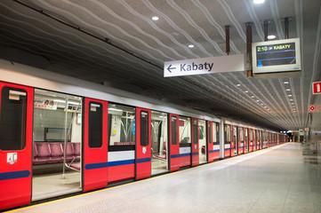 Warsaw, Poland. 10 December 2016. Subway at Mlociny metro station.