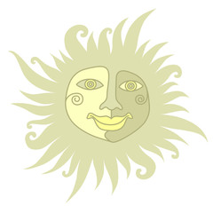The sun face, The sun with a human face on a white background in folk style