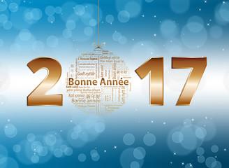 Bonne année 2017 fond bleu et blanc