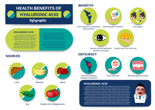 health benefits of hyaluronic acid infographic including of deficiency and sources, supplement medical vector illustration for education.
