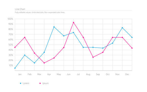 Simple Infographic Line Chart - Sky Blue, Deep Pink