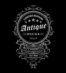 Retro banner vintage frame design western label typography vecto