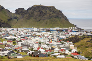 Overlooking the town of Heimaey from recent lava flow on Heimaey Island, Iceland, Polar Regions