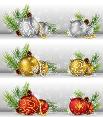 Christmas background with pine cone, ball and fir