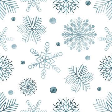 Watercolour snowflakes seamless pattern