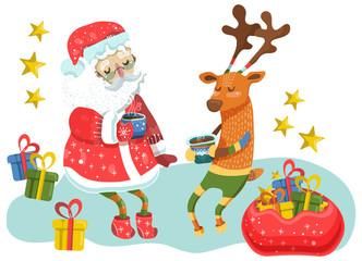 Santa Claus and Christmas Deer