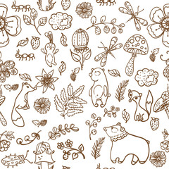 Forest animals pattern, forest pattern