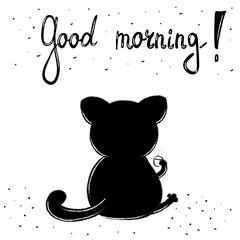 Funny Cartoon vector cat print. Good morning card