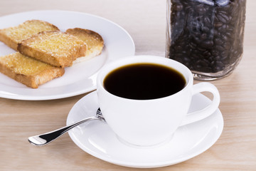 Coffee and bread in the morning breakfast