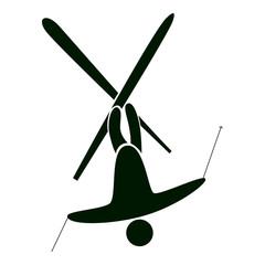 Isolated ski icon on white. Black figure of an athlet on white background. Person with sticks and ski. Extreme sport.