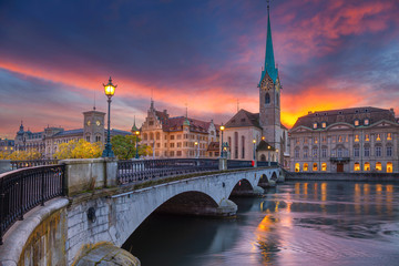 Zurich. Cityscape image of Zurich, Switzerland during dramatic sunset. Wall mural