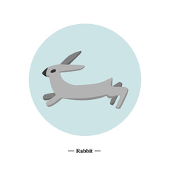 The symbol of the hare in style flat. Vector illustration