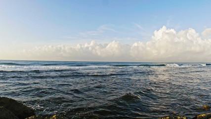 Sea landscape in Dominican Republic - summer waves, clouds