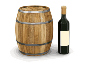 wine barrel and bottle. Image with clipping path