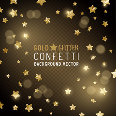 Falling Glittery gold star shaped metallic confetti, celebration background. Vector illustration.