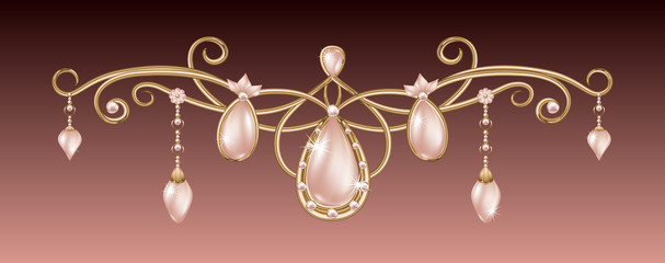 Gold pendant with pink diadem with pearls