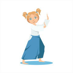Girl With Ponytails In Wide Trousers On Karate Martial Art Sports Training Cute Smiling Cartoon Character