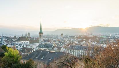Zürich Stadtansicht im Winter