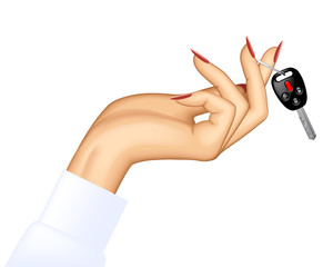 Woman's hand holding car key