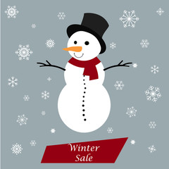 Snowman with Winter sale tag on a grey background