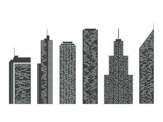 Set of urban skyscrapers. Silhouettes of modern buildings.