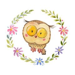 Cute owl Owlet for kindergarten, nursery, children clothing, baby pattern