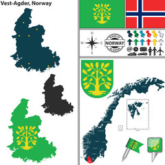 Map of Vest Agder, Norway