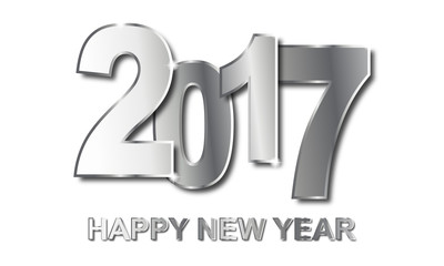 Happy New Year 2017 - Silberne Schrift (in Weiß)