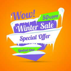 Winter sale poster. Discount sticker. Special offer vector. Advertisement tag.