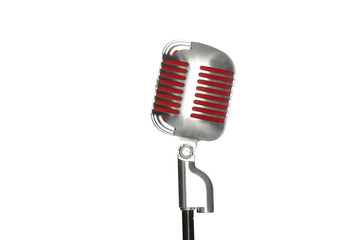 microphone retro style on a white background, on the air