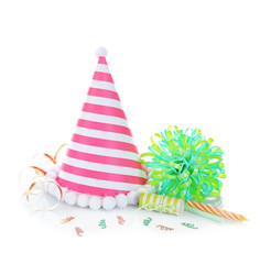 Party hat on white background