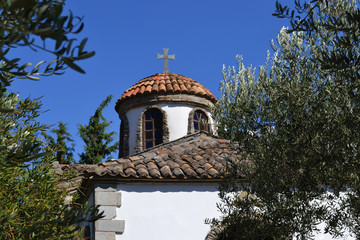 A typical Greek white church building, Halkidiki, Greece