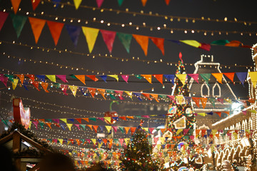 Decorated city with flags, garlands