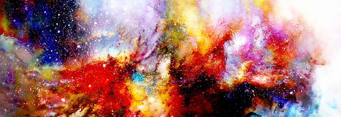Cosmic space and stars, cosmic abstract background and glass effect. Copy space.