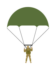Military Parachutists Vector Illustration
