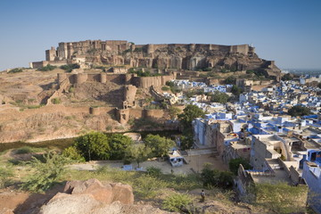 The Blue City of Jodhpur, Western Rajasthan, India, Asia
