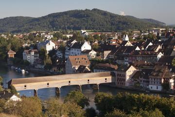 View over Diessenhofen with historic wooden bridge, Canton Schaffhausen, Switzerland, Europe