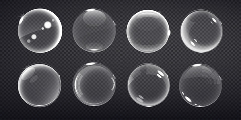 transparent balls. Buble on a transparent background. Vector illustration of soap bubbles on transparent background.