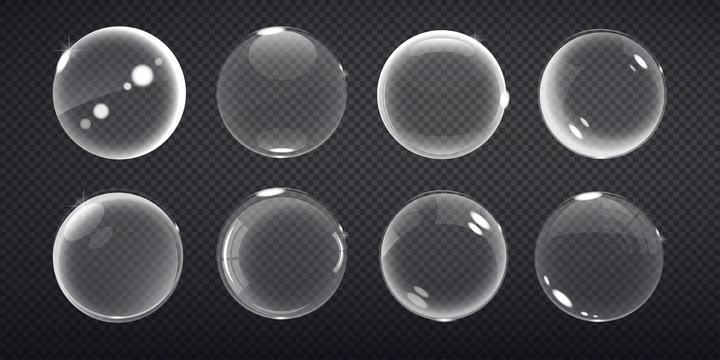 transparent balls. Buble on a transparent background. Vector illustration of soap bubbles on transparent background.