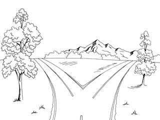 Road fork graphic black white landscape sketch illustration vector