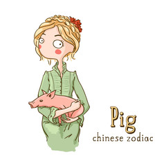 Beautiful girl with pig