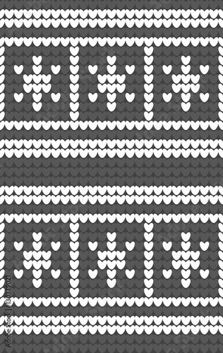 White Snowflakes On Gray Background Knitted Pattern Winter Fair