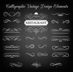 Ornate frame restaurant elements. Menu Vintage and filigree decoration.