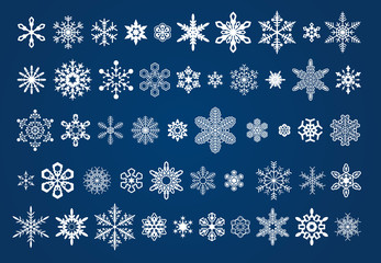 50 different vector snowflakes icons set