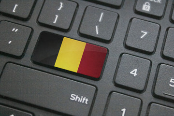 Close up of Belgium flag on computer keyboard