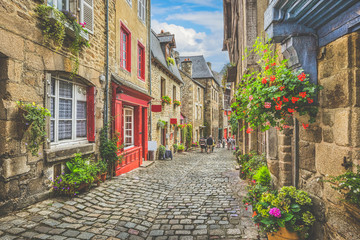 Charming street scene with traditional houses in old town in Europe